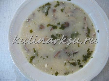 Грибной суп  с зеленым горошком