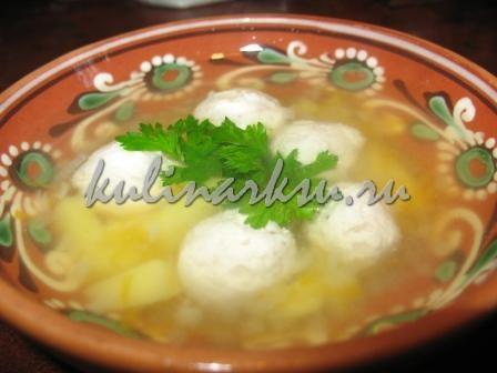 Суп с куриными фрикадельками. Диетическое блюдо