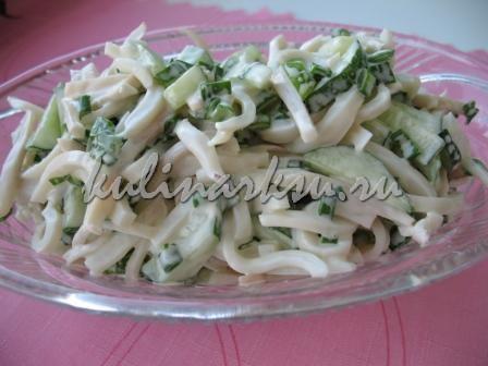 Салат из огурцов с кальмарами