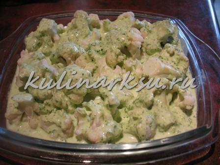 Цветная капуста с фетой и зеленью