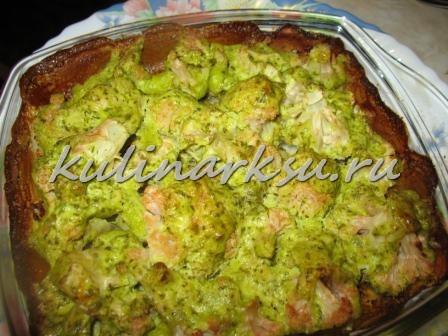 Цветная капуста с фетой и зеленью. Диетическое блюдо